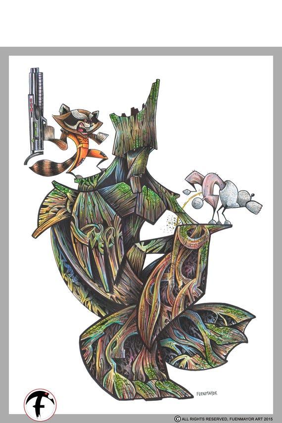 The Groot / Rocket / guardians / Marvel / Caricature / Cartoon / Comic / Pop Surrealism / Lowbrow / Cubism / Pop Art  Illustration Print