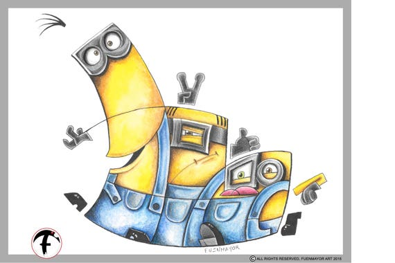 Minions / Cartoon / Caricature / Comic / Pop Surrealism / Lowbrow / Cubism / Pop Art  Illustration Print