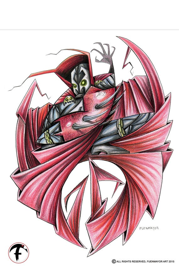 Spawn / Caricature / Cartoon / Comic /  Pop Surrealism / Lowbrow / Cubism / Pop Art  Illustration Print