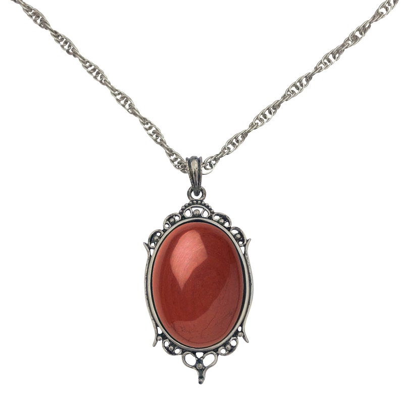 24 DragonWeave Antique Silver Red Jasper Gemstone Cabochon Pendant on Fancy Rope Chain Necklace