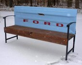 Rustic Vintage Ford Tailgate Benches