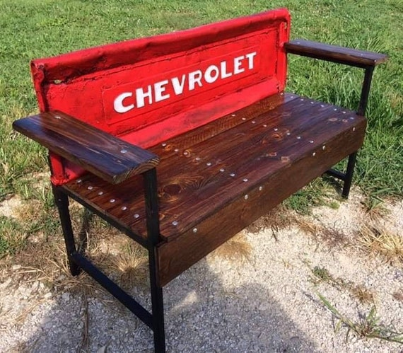 Rustic Vintage Chevrolet Tailgate Benches