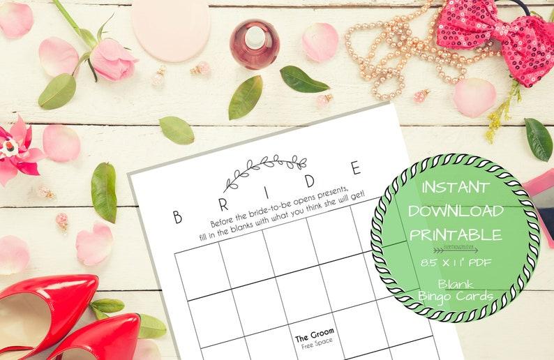 Printable Blank Bridal Bingo Cards for Bridal Shower Instant Download File Printable Blank Wedding Shower Bingo Game