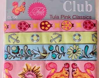 Renaissance Ribbons, Tula Pink Classics, Pink, Blue, Green, Squirrels,  Woven Jacquard Ribbons, 5 Yards  Ribbon