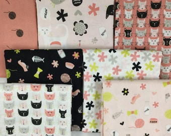 Meow, Six  Piece Fat Quarter Bundle, My Minds Eye for Riley Blake, Cat Fabric, Peach, Black and Green,