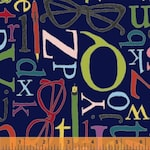 Wordplay, Studious, Letters and Glasses Sarah Fielke, Windham Fabrics  43136-8, Bright Colors on Navy, Novelty Text Fabric, Large Letters