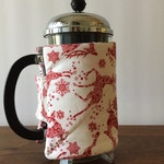 French Press Cozy, Handmade- Red and White Reindeer Fabric, Bodum French Press Cover, Coffee Lover Gift, Holiday Fabric, Christmas Fabric,