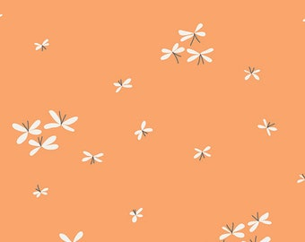 Firefly Tang, VOILE, Orange and White - Curiosties by Jeni Baker for Art Gallery Fabric V-19131