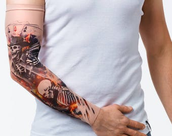 2f59beca9a917 New! - Unisex WILD GUNS Mesh Tattoo Sleeve, Temporary Tattoo, Wild West  Tattoo, Skeleton Tattoo, Gunman Tattoo, Western Shooting, Guns