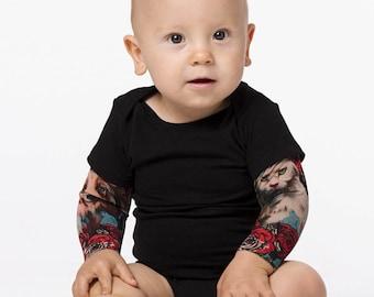 Funny Baby Clothing Japan Style Baby Tattoo Bodysuit Kids Halloween Costume Baby Halloween Bodysuit Infant/'s Tattoo Sleeve Bodysuit