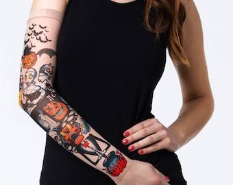 New Unisex Sugarskull Mesh Tattoo Sleeve Fake Tattoo Etsy