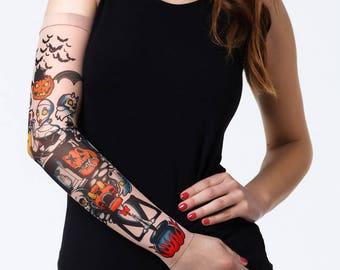 076414cb92427 Unisex HALLOWEEN PUMPKINS Mesh Tattoo Sleeve, Fake Tattoo, Temporary Tattoo,  Halloween Costume, Skull Tattoo, Pumpkins Tattoo
