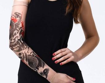 f1594430eea6 Unisex SNAKE & SKULLS Mesh Tattoo Sleeve, Fake Tattoo, Temporary Tattoo,  Snake Tattoo, Skulls Tattoo, Demon Tattoo