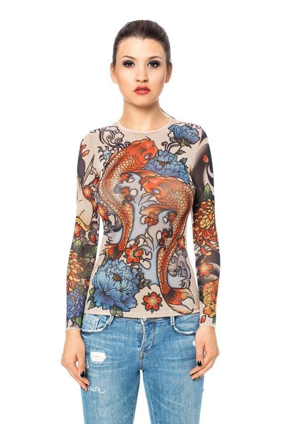 New japan style tattoo blouse mesh blouse womens for Mesh tattoo shirt