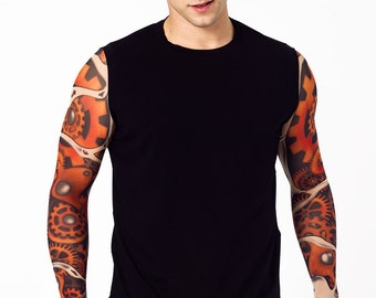 Mens Tank Top with PUZZLE FACES Temporary Tattoo Sleeves, Long Sleeves Shirt, Mens Clothing, Mens Tank Top, Graphic Shirt, Gift for Man