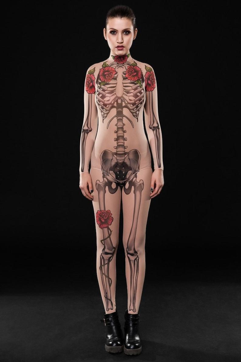 Tattoo Skeleton Halloween Costume Skeleton Catsuit Halloween Etsy