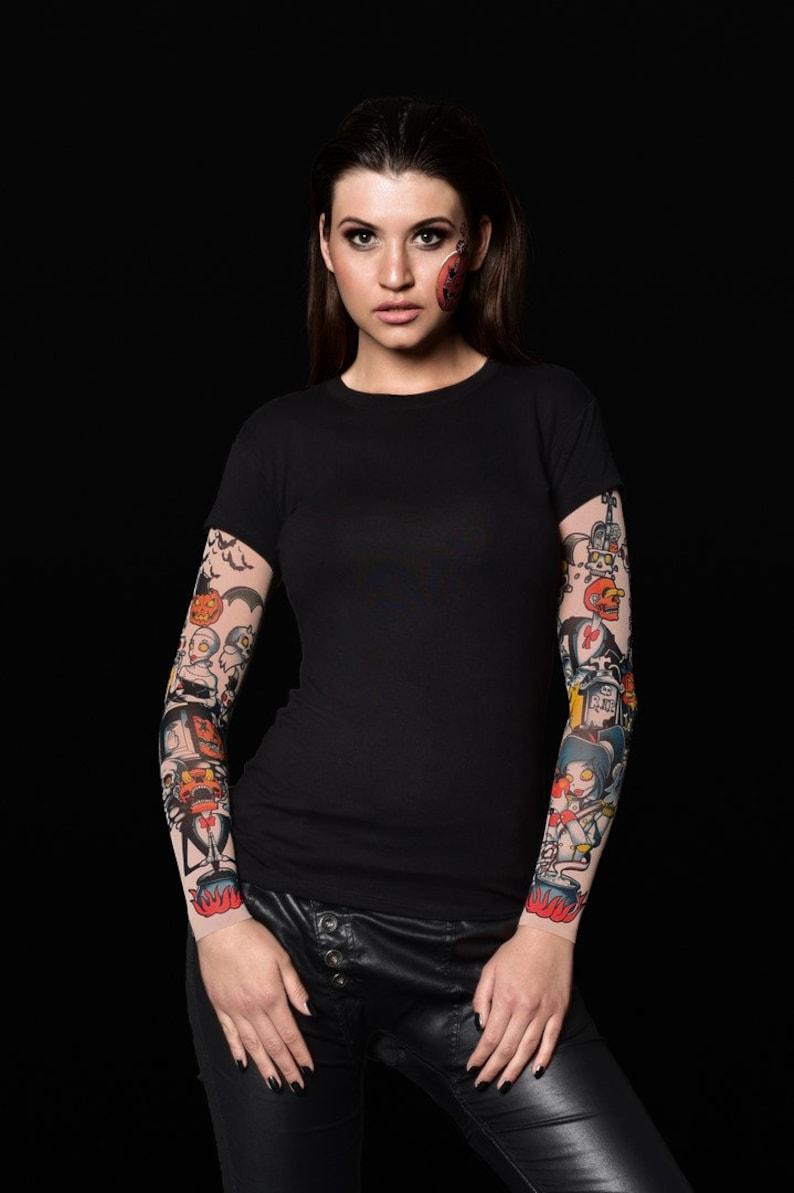 efe9fe231c316 Pumpkin Halloween T-shirt for Women Pumpkin Tattoo Sleeves | Etsy