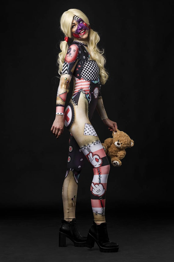 halloween rag doll costume full body halloween costume women catsuit cosplay costume adult halloween doll outfit spooky doll catsuit