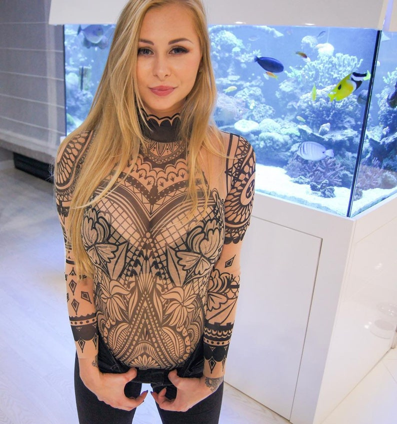 073d3a57b390a NEW AZTEC FLOWERS Tattoo Bodysuit Mesh Body Tattoo Body
