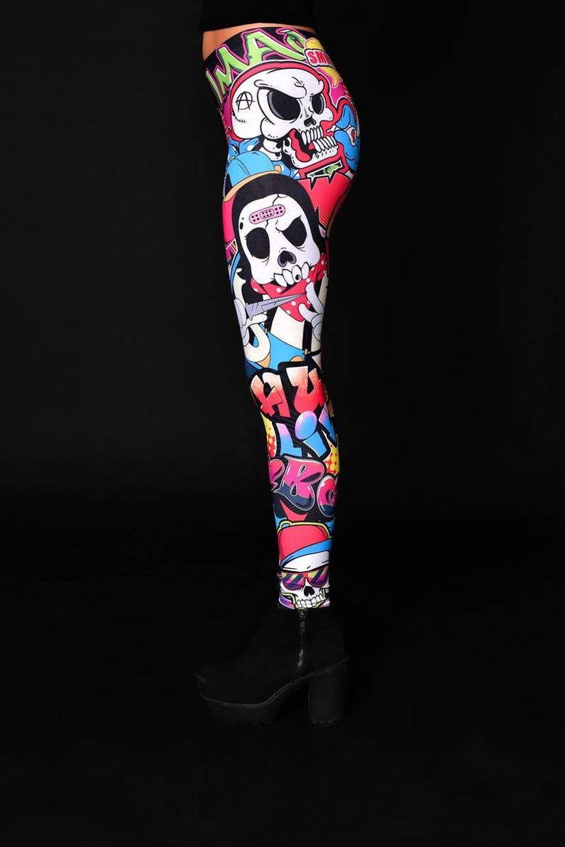 Yoga Leggings Printed Leggings Graffiti Design Halloween Costume Womens Pants Skull SKULL GRAFFITI STYLE Leggings Halloween Leggings