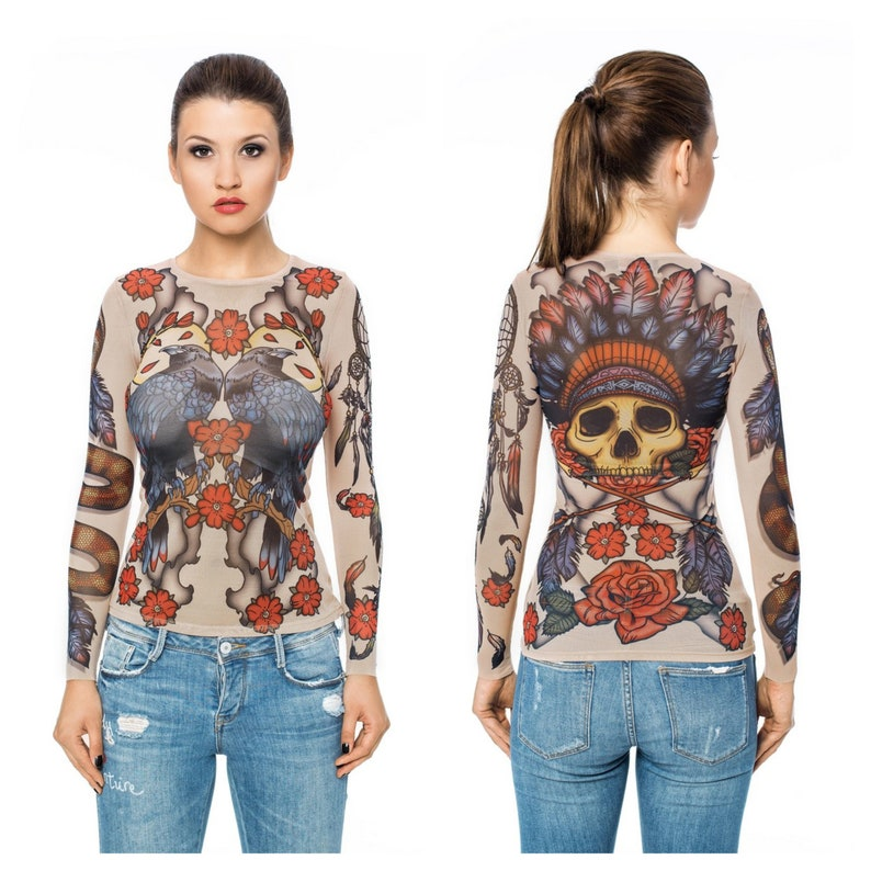 a1d2095728ae1 NEW WILD WEST Tattoo Blouse Mesh Blouse Womens Blouses