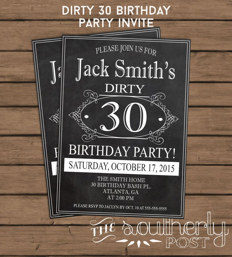 Dirty 30 Birthday Party Invitation 30th Thirty