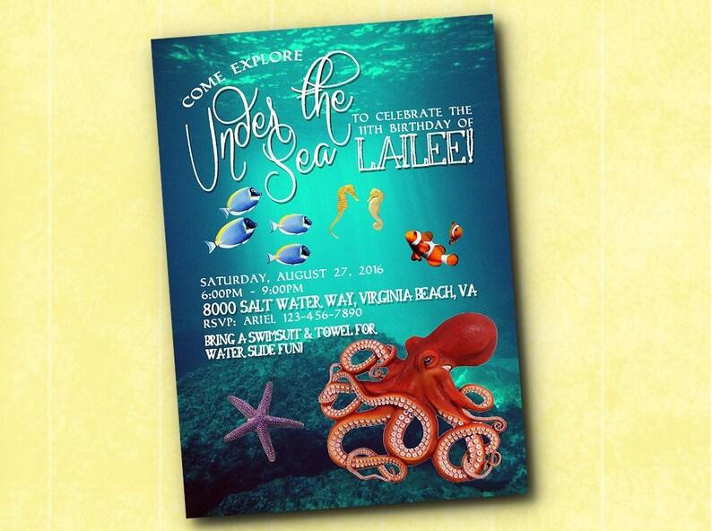 Bajo Cumpleaños Mar Océano Del De La Submarina Pulpo Invitación thQodxBsCr