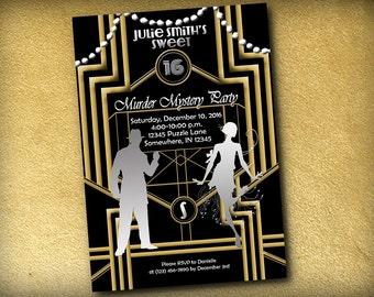 Murder Mystery 1920s Gatsby Style Birthday Invitation