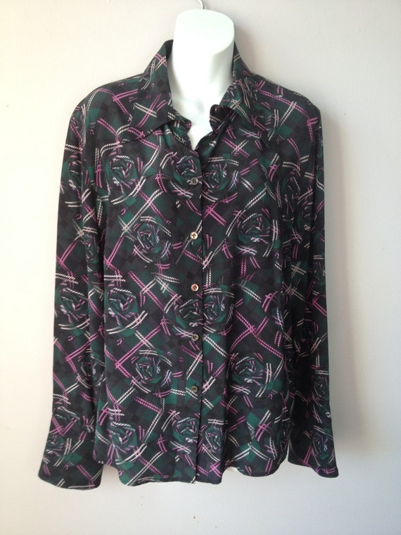 ESCADA Navy Blue Forest Green Printed Silk Blouse