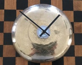 Etched Brass Wall Clock, Repurposed Heemskerk Candle Holder, Upcycled Clock