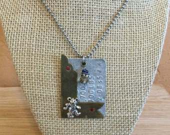 Dog Tag Style Pendant, Jewelry For Deadheads, Found Objects Necklace