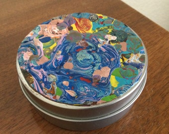 Altered Tin, Acrylic Pour Paint Tin, Decorative Container