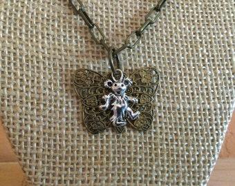 Butterfly Jewelry, Art Nouveau Pendant, Jewelry For Deadheads