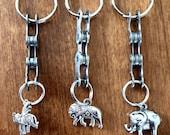 Cyclist Gift/Elephant Keychain/Elephant Charm Keychain/Upcycled Bike Chain Keychain