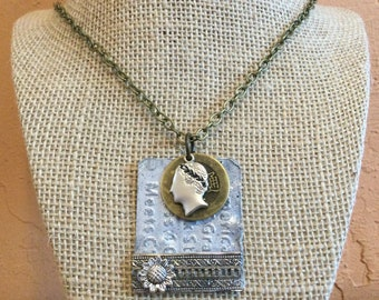 Dog Tag Style Pendant, Caesar Pendant, Found Objects Necklace