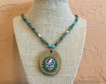 Wooden Pendant, Jewelry For Deadheads, Skull Pendant