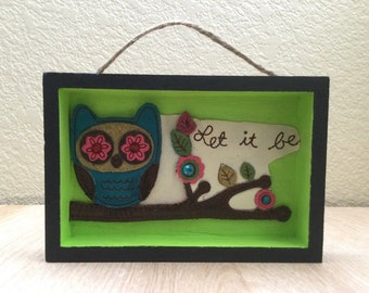 Owl Shadow Box, Let It Be Plaque, Upcycled Wallet