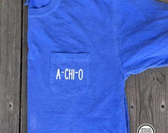 A Chi O Pocket Tee, Alpha Chi Omega Pocket Tee, AXO Shirt, Alpha Chi Omega Shirt, A Chi O Shirt, AXO Pocket Tee, Comfort Colors Pocket Tee