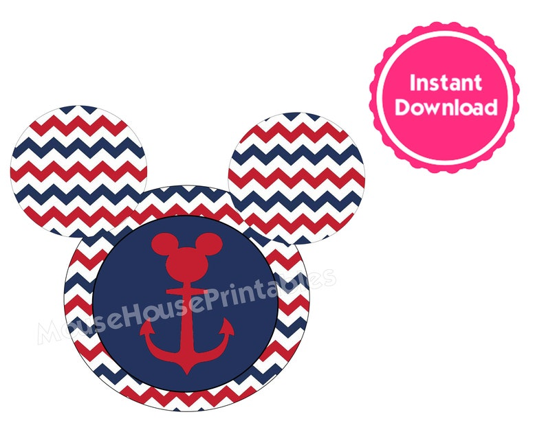 photograph regarding Mickey Anchor Printable known as PRINTABLE Nautical Mickey Mouse Anchor Iron-Upon Relatives T-Blouse Style or Disney Cruise Cabin Doorway Decoration Magnet - Instantaneous Down load