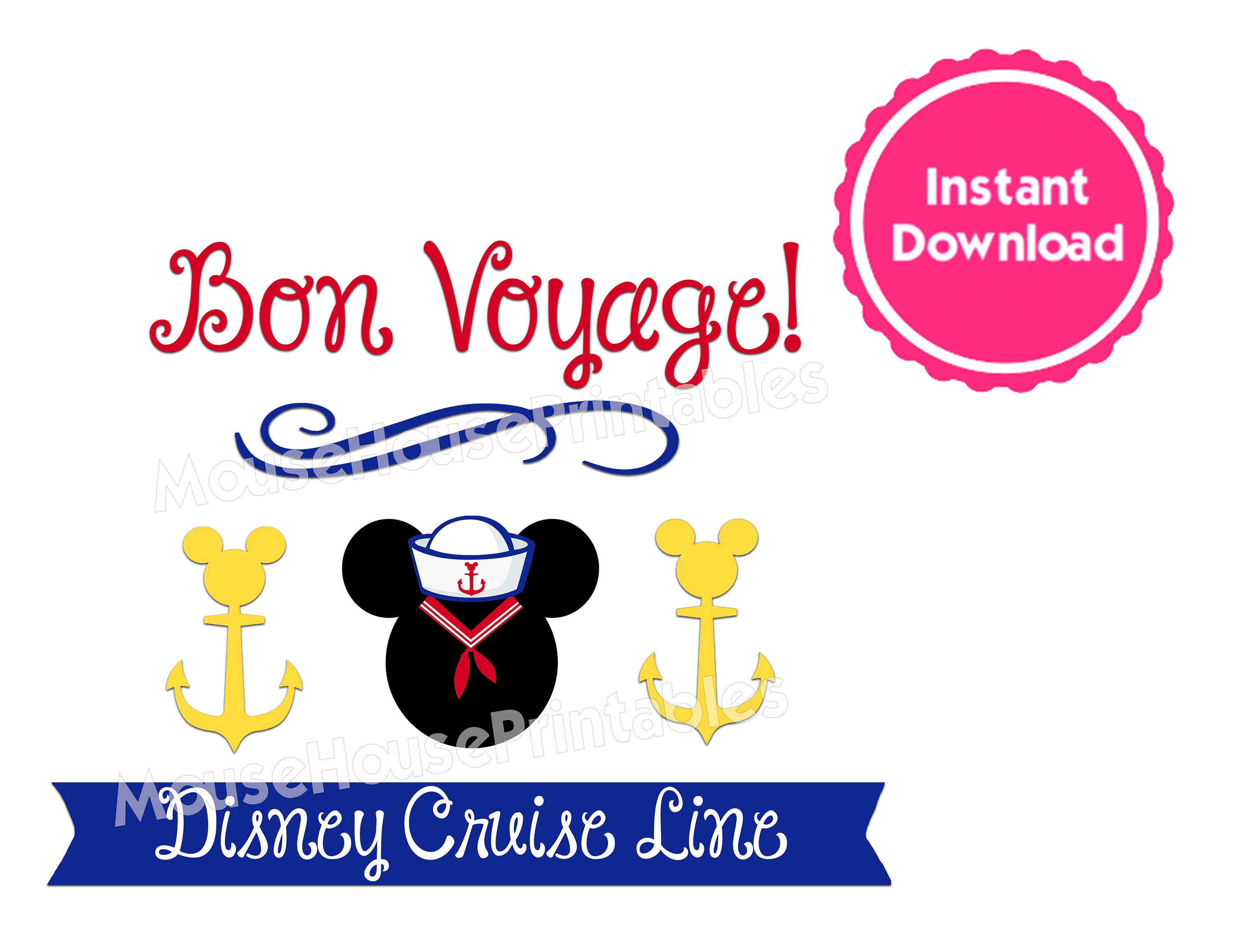 picture about Mickey Anchor Printable called PRINTABLE Bon Voyage Mickey Anchor Iron-Upon Spouse and children T-Blouse Structure or Disney Cruise Cabin Doorway Decoration Magnet - Prompt Down load