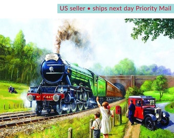 Diamond Painting Kit • Full Drill • Square Drills • Vintage Train in the Country • 12x16 inches • US Seller • Ships Next Day Priority Mail
