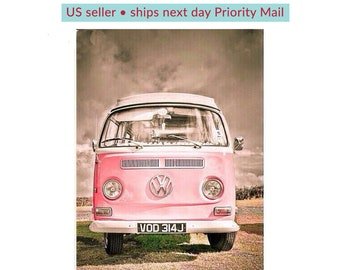 Diamond Painting Kit • Full Drill • Square Drills • Boho VW Bus Pink • Large 18 x 24 inches • US Seller • Ships Next Day Priority Mail