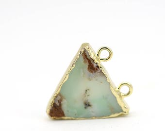 Turqouise Agate Pendant Drop • Boho Style Agate Triangle Two Hoop Pendant • Electroplated Agate Pendant • Natural Agate Pendant