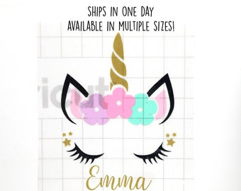 Unicorn Decal With Name • Tumbler Decal • Personalized Vinyl Decal for Cups • Car Decal • Unicorn Horn Decal • SHIPS in ONE DAY