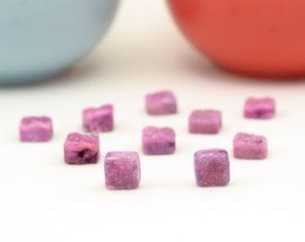 Sale Pink Druzy Beads | Set of 10 Druzy Quartz | 8mm square Druzy Beads | Drilled Pink Square Tiny Druzy | READ DESCRIPTION CAREFULLY