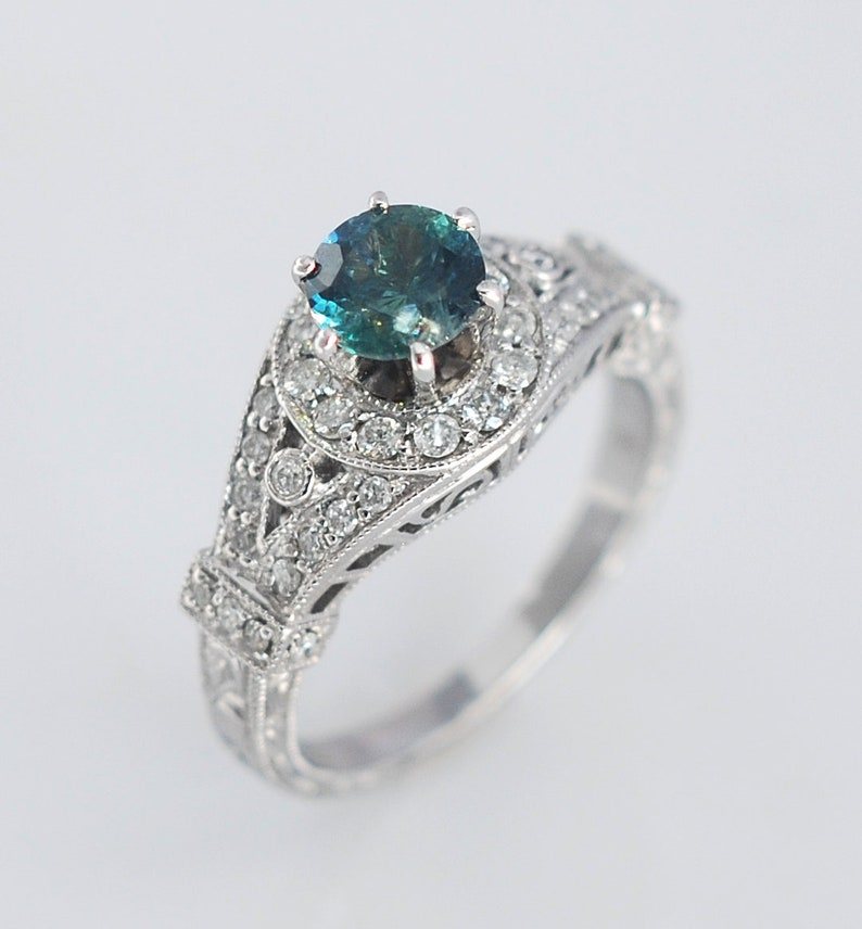 c49dfc3585f9a1 Vintage Montana Sapphire Engagement Ring Diamonds 14k White   Etsy