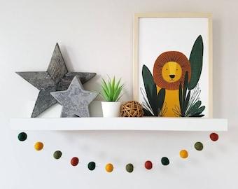 Safari Bedroom Decor - Felt Ball Pom Pom Garland