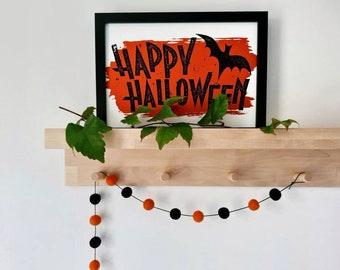 Halloween Garland - Black And Orange Felt Balls
