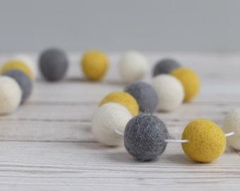 Yellow, Grey and White Pom Pom Garland - Mustard and Grey Decor