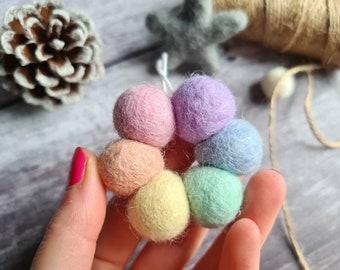 Pastel Christmas Tree Decorations - Rainbow Felt Balls